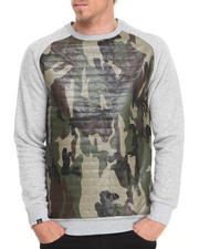 Kite Club - Camo/Grey Quilted fleece crewneck sweatshirt