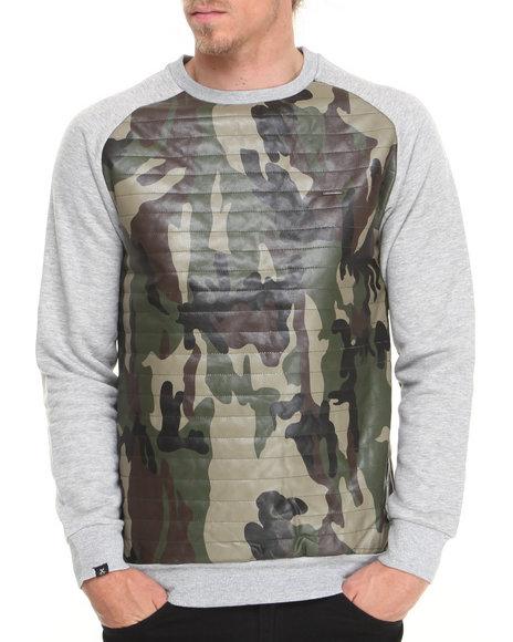 Kite Club Grey Camo/Grey Quilted Fleece Crewneck Sweatshirt