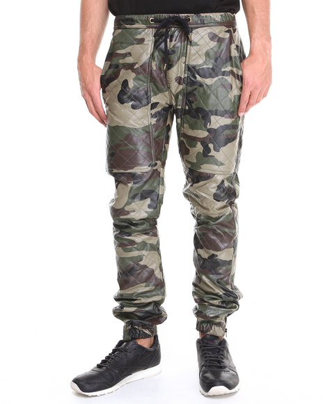 Kite Club Camo Quilted Faux Leather Jogger