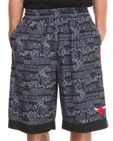 Nba, Mlb, Nfl Gear - Men Grey Chicago Bulls Joseph Aztec Drawstring Mesh Short