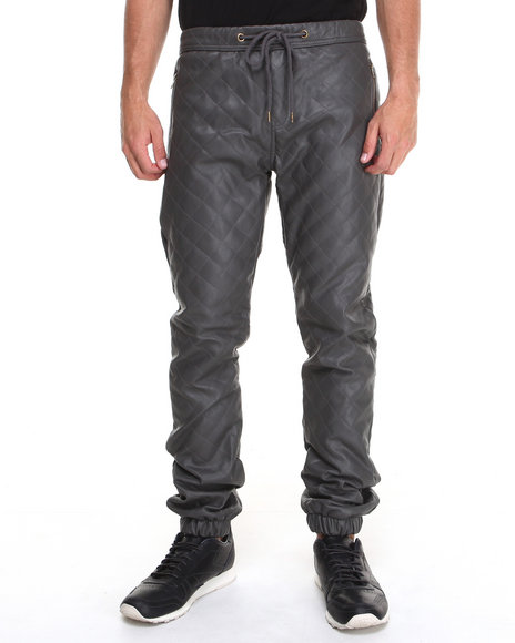 Kite Club Charcoal Quilted Faux Leather Jogger