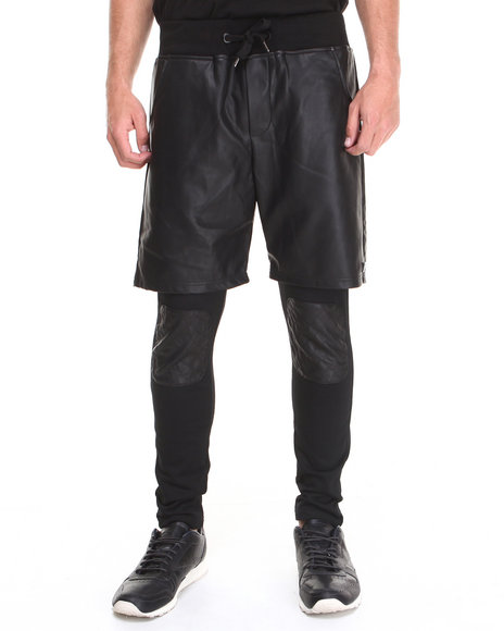 Forte' - Men Black Quilted Knee Two-Fer Pants - $41.99