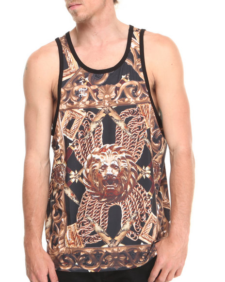 Double Needle Black Golden Lion Tank