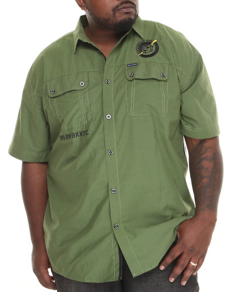 Rocawear Olive Black Hearts Rip Stop S/S Button-Down (Big & Tall)
