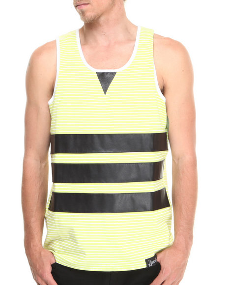Flysociety Lime Green Striped Pu Tank