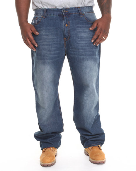 Rocawear - Men Medium Wash Suspender Jeans (B & T)