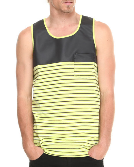 Flysociety Neon Green Pieced Pu Tank