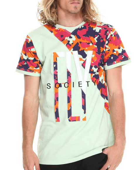 Flysociety - Men Green Pieced Camo T-Shirt