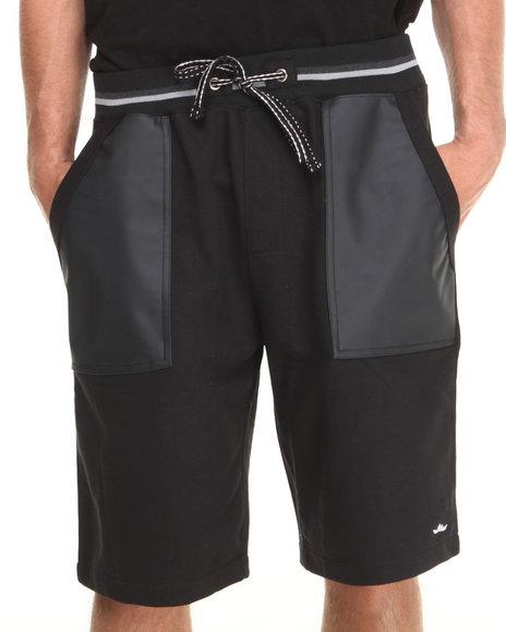 Flysociety Black Pu Shorts