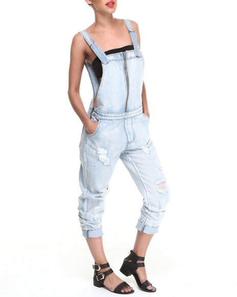 Evil Twin - Women Light Wash Simple Life Boyfriend Overalls