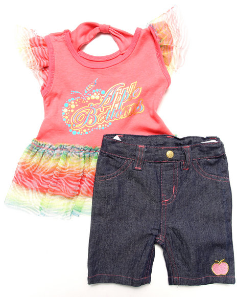 Apple Bottoms - Girls Coral 2 Pc Set - Ruffle Tee & Jeans (Infant)