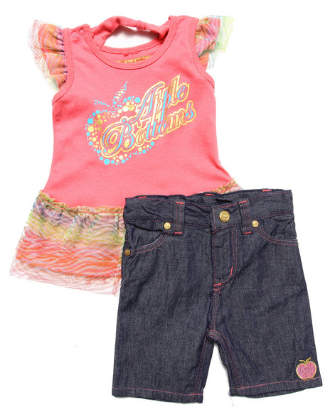 Apple Bottoms - Girls Coral 2 Pc Set - Ruffle Tee & Jeans (2T-4T)
