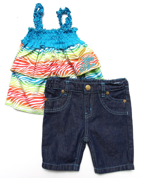 Apple Bottoms - Girls Teal 2 Pc Set - Tiered Top & Jeans (2T-4T)
