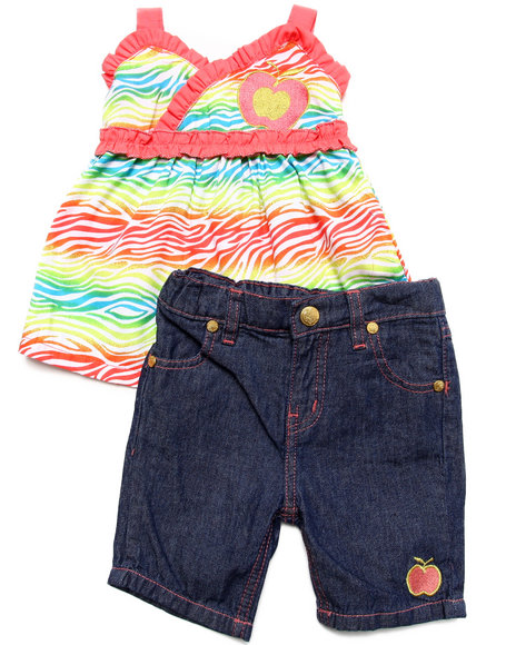 Apple Bottoms - Girls Coral 2 Pc Set - Zebra Cami & Jeans (2T-4T)