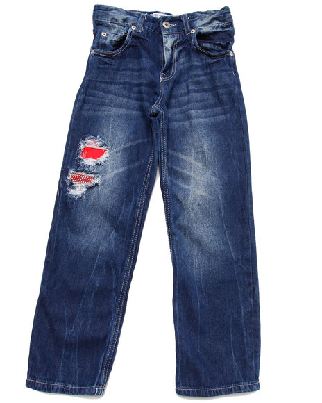 Parish Boys Dark Wash Distressed Americana Jeans (8-20)