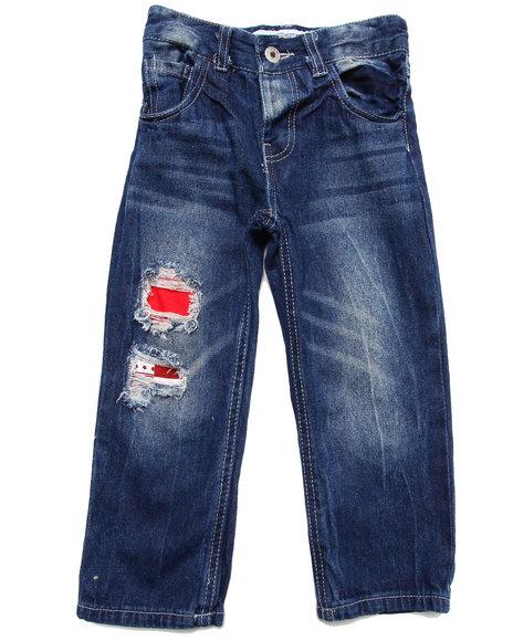 Parish Boys Dark Wash Distressed Americana Jeans (4-7)