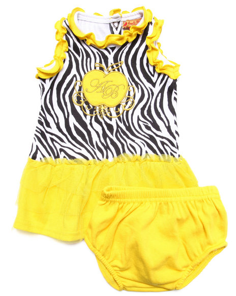 Apple Bottoms - Girls Yellow Zebra Print Tutu Dress (Newborn)