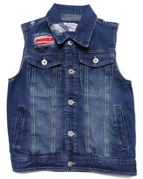 Parish - Boys Dark Wash Distressed Americana Denim Vest (8-20)