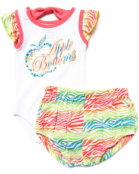 Apple Bottoms - Girls Multi 2 Pc Set - Bodysuit & Zebra Print Bloomers (Newborn)