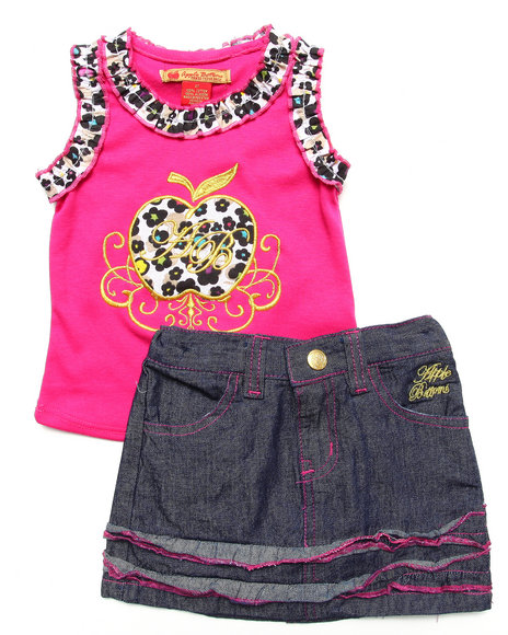 Apple Bottoms - Girls Pink 2 Pc Set - Tank & Denim Skirt (2T-4T)
