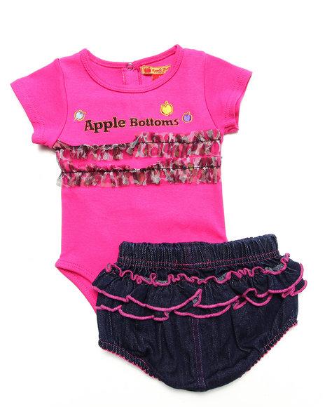 Apple Bottoms Girls Pink 2 Pc Set Bodysuit With Animal Print And Ruffle Shorts (Newborn)