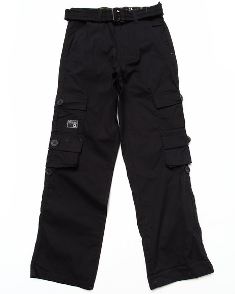 Akademiks - Boys Black Belted Cargo Pants (8-20)