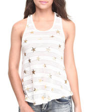 Women - Shadow Stripes Foil Stars Knit Tank