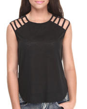 Women - Cage Shoulder Sheer Back Top
