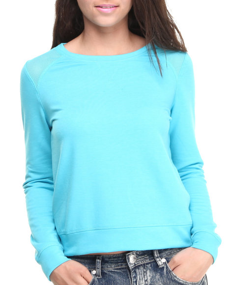 Rampage - Women Blue Terry Mesh Insert Stretch Sweatshirt