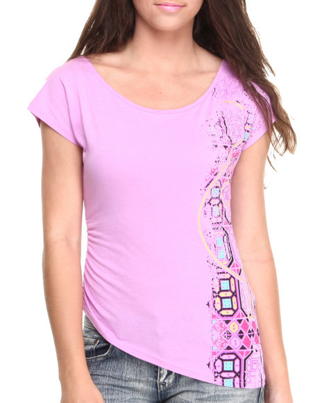 Baby Phat - Women Purple Screen Print Asymmetrical Top