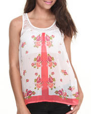 Women - Lace Yoke Floral Open Back Top