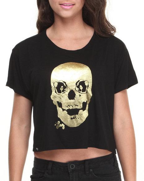 Lrg - Women Black Skullky Box Tee W/Foil Panda Eyes - $14.99