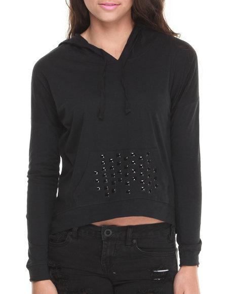 Rampage - Women Black Embellished Pocket Hoodie