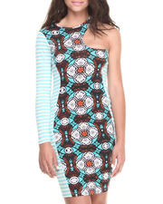 Dresses - Asymetric Neckline Mixed Print Dress