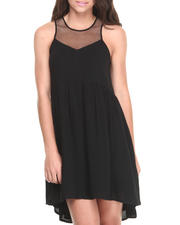 Dresses - Mesh Zip Back Babydoll Dress