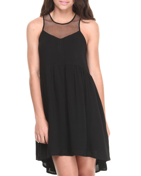 Rampage Black Mesh Zip Back Babydoll Dress