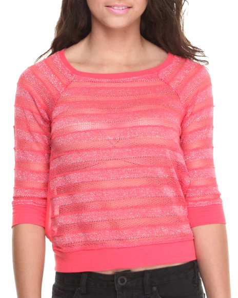 Rampage - Women Pink Metallic Mesh Open Back Sweatshirt