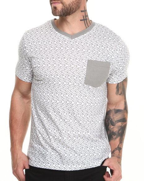 Buyers Picks - Men Grey Electric V-Neck Tee