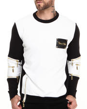 Cote De Nuits - Mixed Media French Terry Sweatshirt W/ Perforated Faux Leather