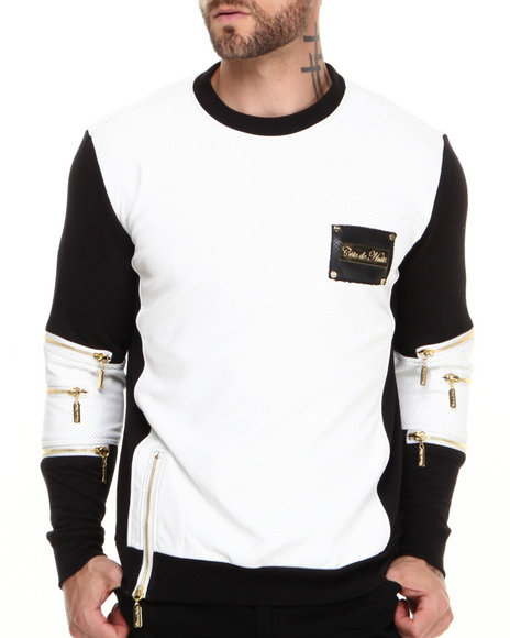 Cote De Nuits - Men Black,White Mixed Media French Terry Sweatshirt W/ Perforated Faux Leather - $98.00