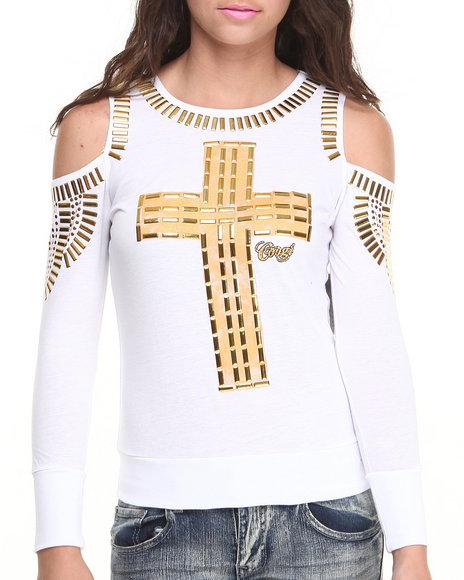 COOGI White Embellished Cross Cutout Shoulder Sweatshirt