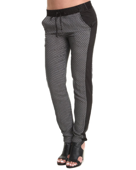 Rampage - Women Black Printed Chalis Colorblock Soft Pant