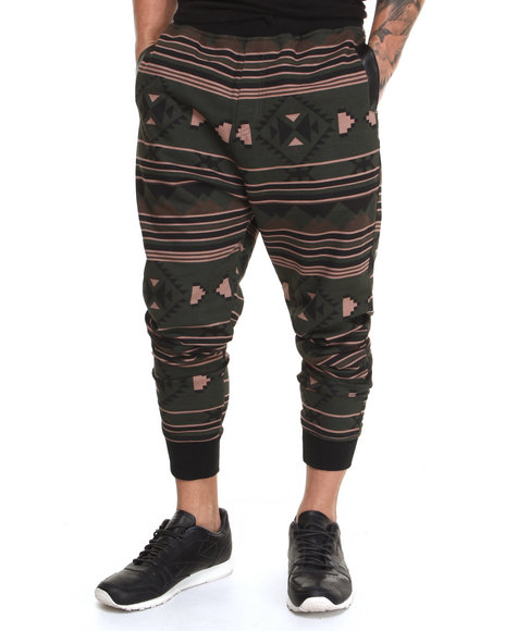 Basic Essentials - Men Olive Aztec French Terry Jogger Sweat Pants