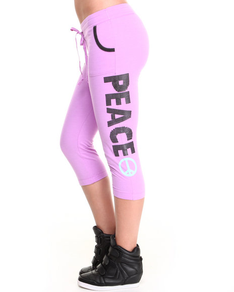 Rampage - Women Purple Cropped Graphic Print Sweatpant