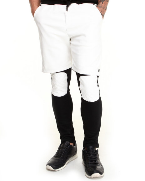 Forte' - Men White Quilted Knee Two-Fer Pants - $44.99