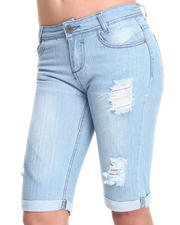 Fashion Lab - Rip & Repair Denim Bermuda Shorts