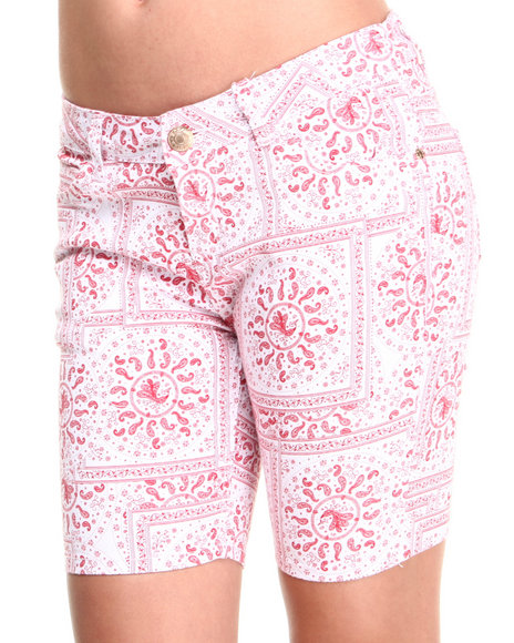 Basic Essentials - Women Red Bandana Print Bermuda Shorts