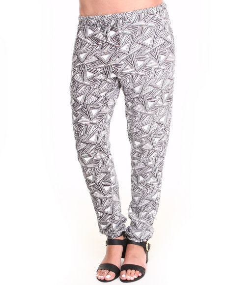 Ur-ID 222869 Basic Essentials - Women Black,White Allover Abstract Print Challis Drawstring Pants