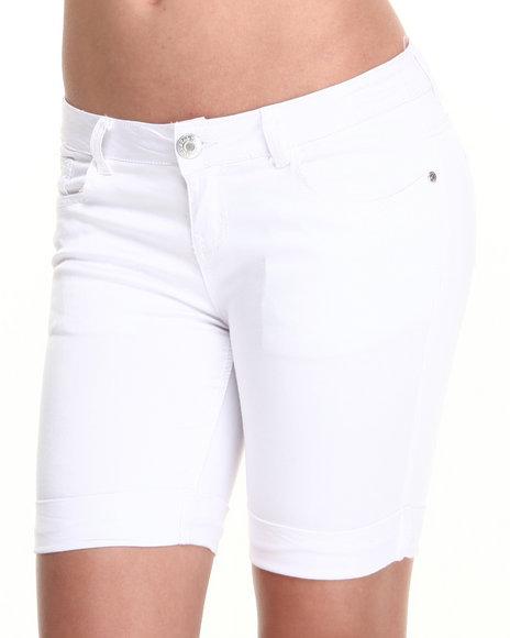 Basic Essentials - Women White Snow Rolled Bermuda Shorts