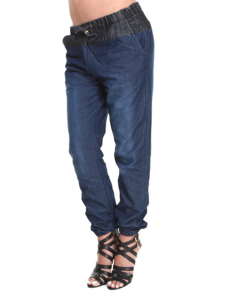 Basic Essentials - Women Indigo Stacy Two-Tone Chambray Jogger Pants